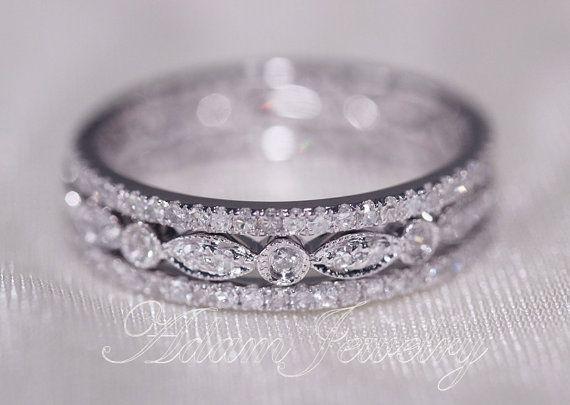 Discount 3 Full Eternity Bands 14k White Gold Wedding Ring Diamonds Ring Engagement White Gold Wedding Rings Diamond Wedding Bands Antique Engagement Rings