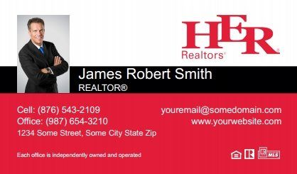 Her Realtors Business Cards - HR-BC-029 - With Photo, Compact,  Small Size Photo, White Red Black