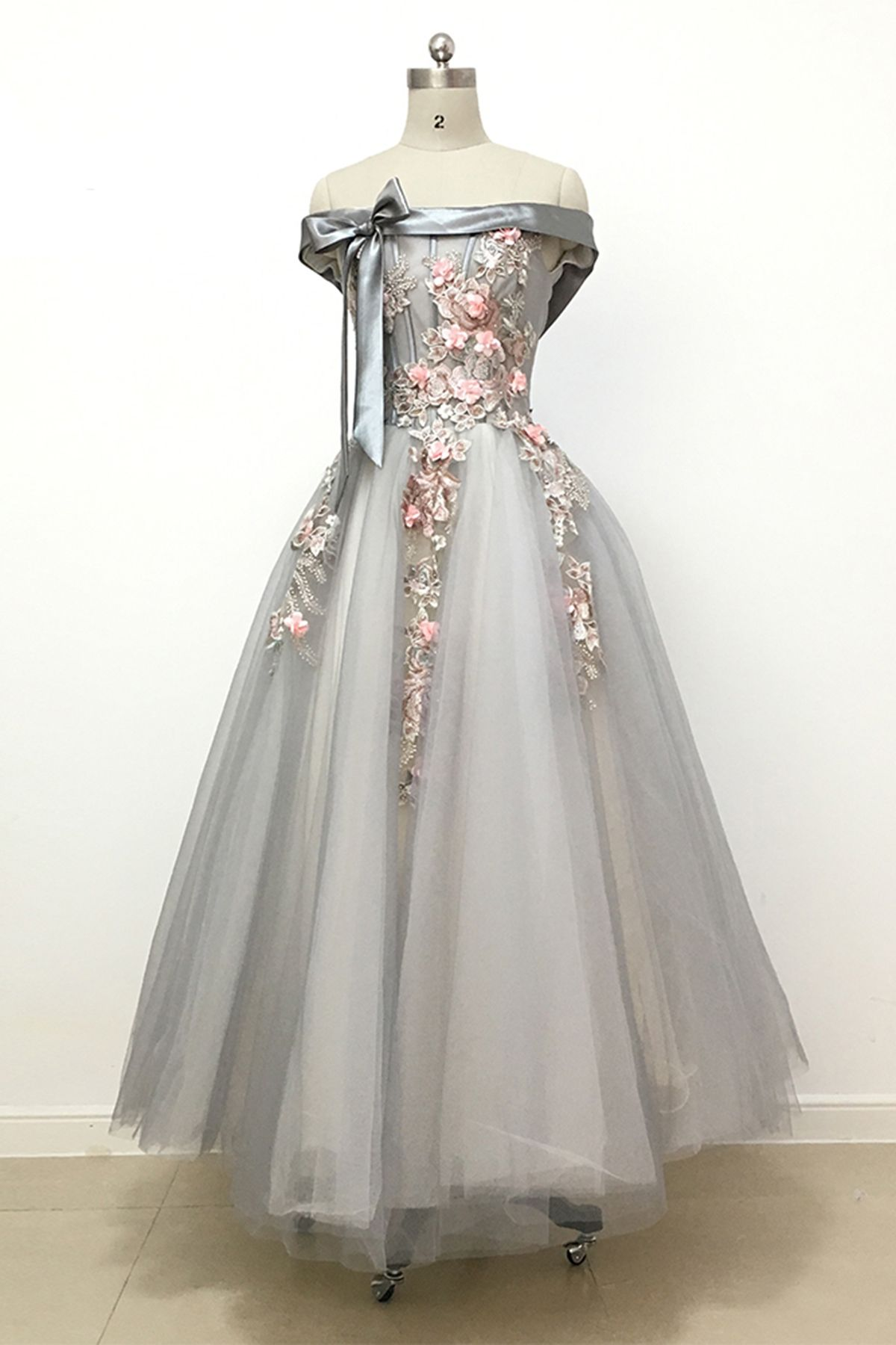 Unique gray tulle prom dress off the shoulder prom dress