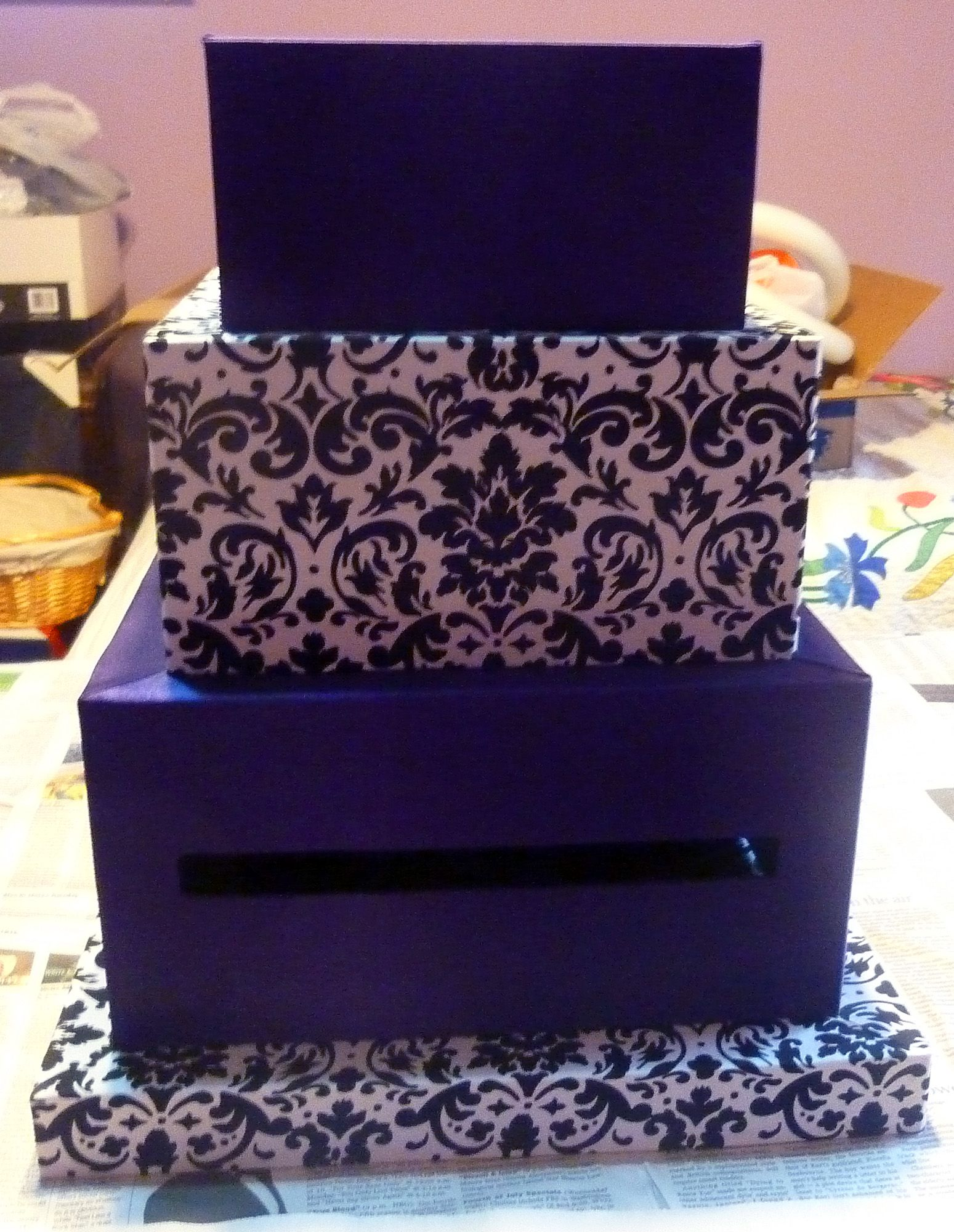 Wedding Card Box 4 Tier Fabric Covered