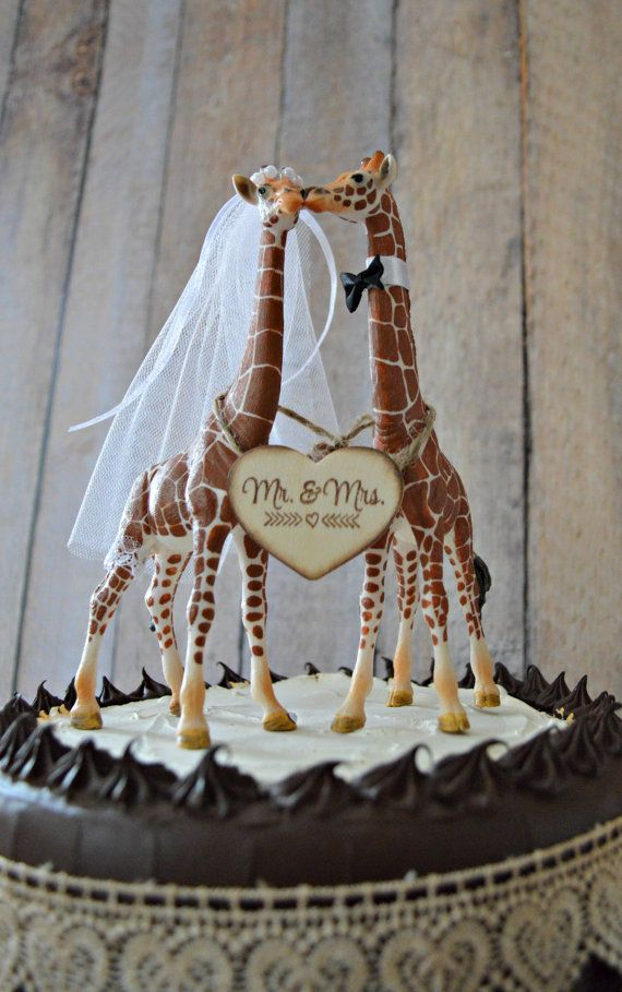 This Listing Is For A Giraffe Wedding Topper Zoo Circus Or Themed These Giraffes Are Fully Decorated And Also Come With Wood Signs