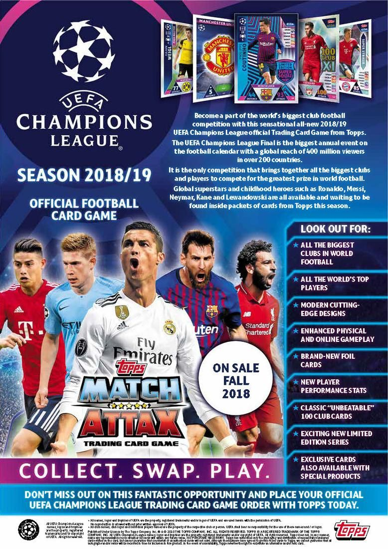 Topps Match Attax 2018//19 UEFA Champions League Soccer Trading Card Game Starter Box