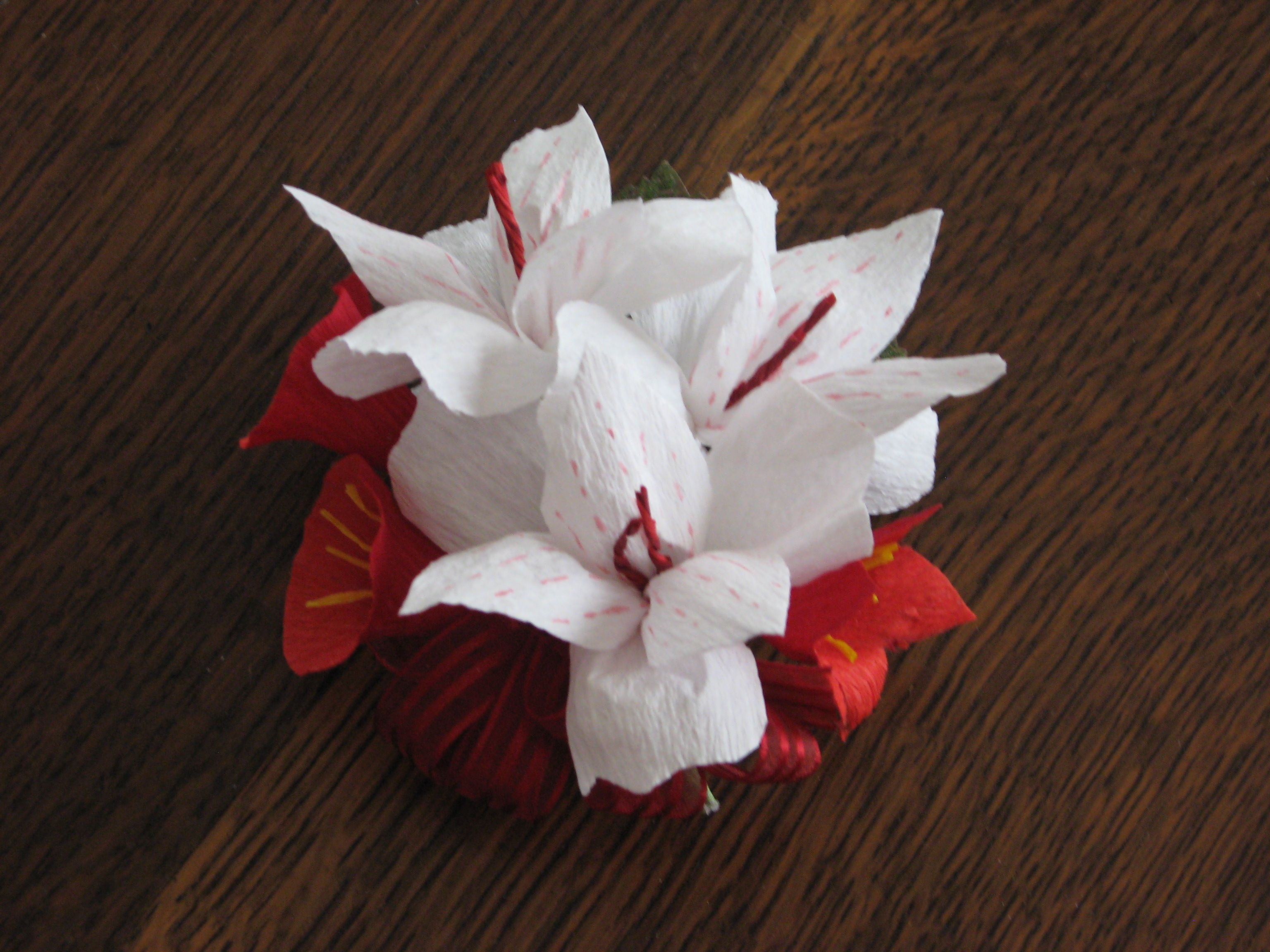 Emilys Wedding Crepe Paper Flowers Corsage Hand Painted Tiny