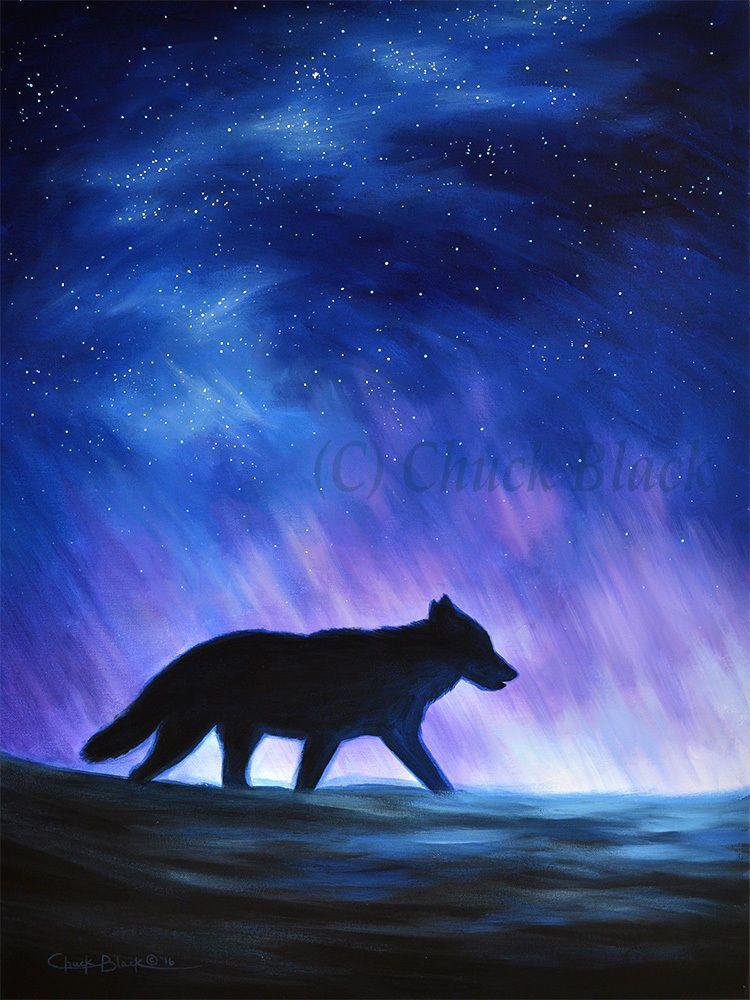 Original Wolf Art Landscape Painting Night Sky Artwork Signed By Chuck Black Night Sky Art Night Sky Painting Night Painting