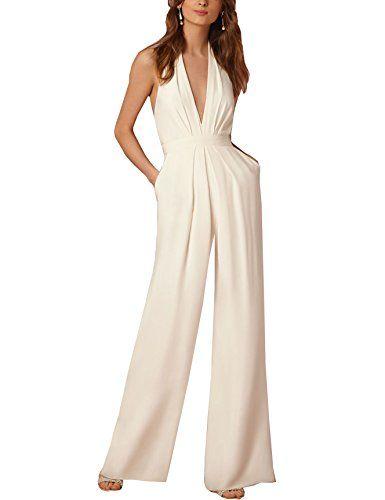 a62e52dac9e Saslax Sexy Deep V Neck Backless Outfit Halter Sleeveless A Line Jumpsuit  Dress