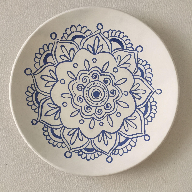 Blue Mandala Pottery By Summer Of Flowers Desenler Sanat Desen Tabak