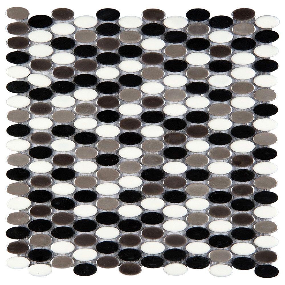 Confetti 8 Gelido Oval Blend Emser Emser Tile Porcelain Mosaic