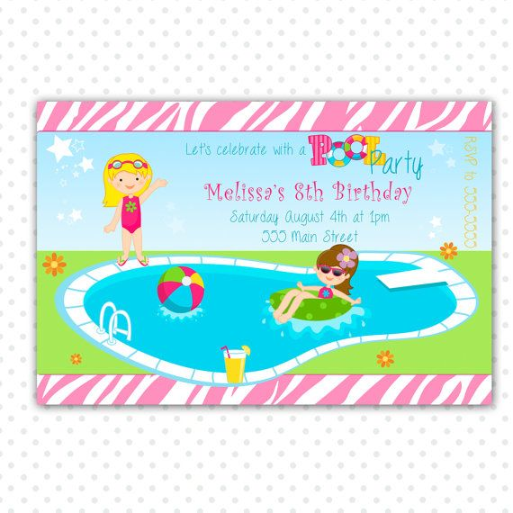 pool party birthday invitation for girl printable personalized for