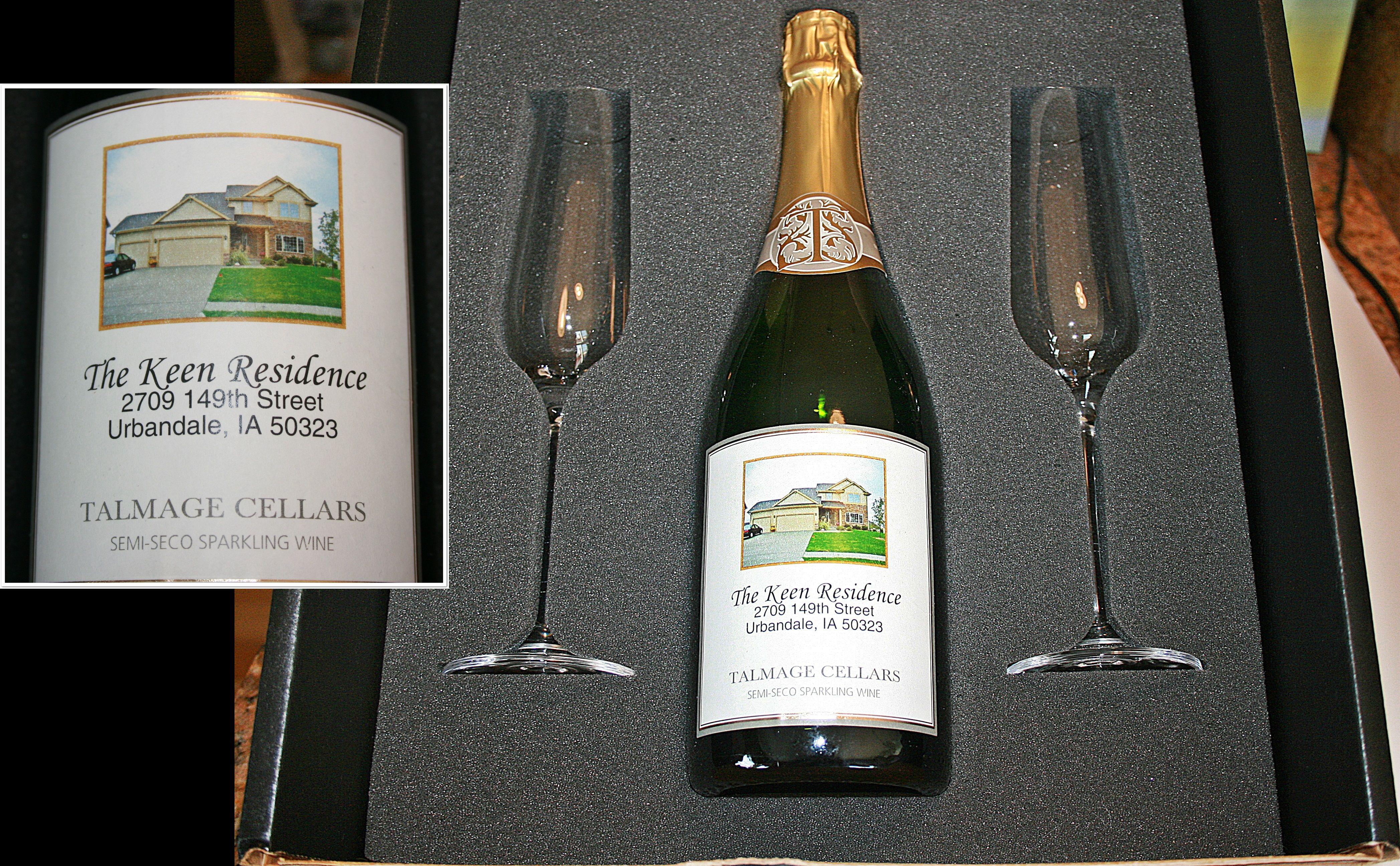 Housewarming wine also great idea for realtors or lenders