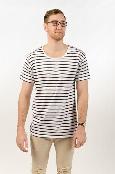 Wire Stripe Tee - White/Navy - BAAM Labs - 1