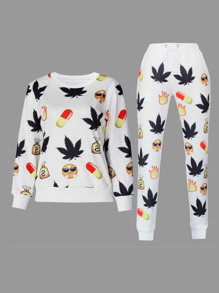 White Emoji Sweatpants Men And Women Emoji Clothing Pants