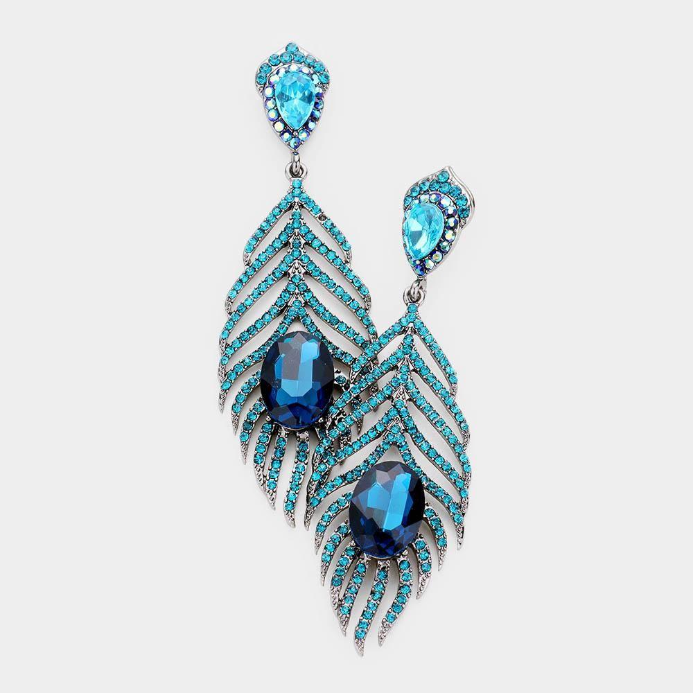 3fa6ca59e6e1e Crystal Feather Evening Dangle Earrings | Earrings in 2019