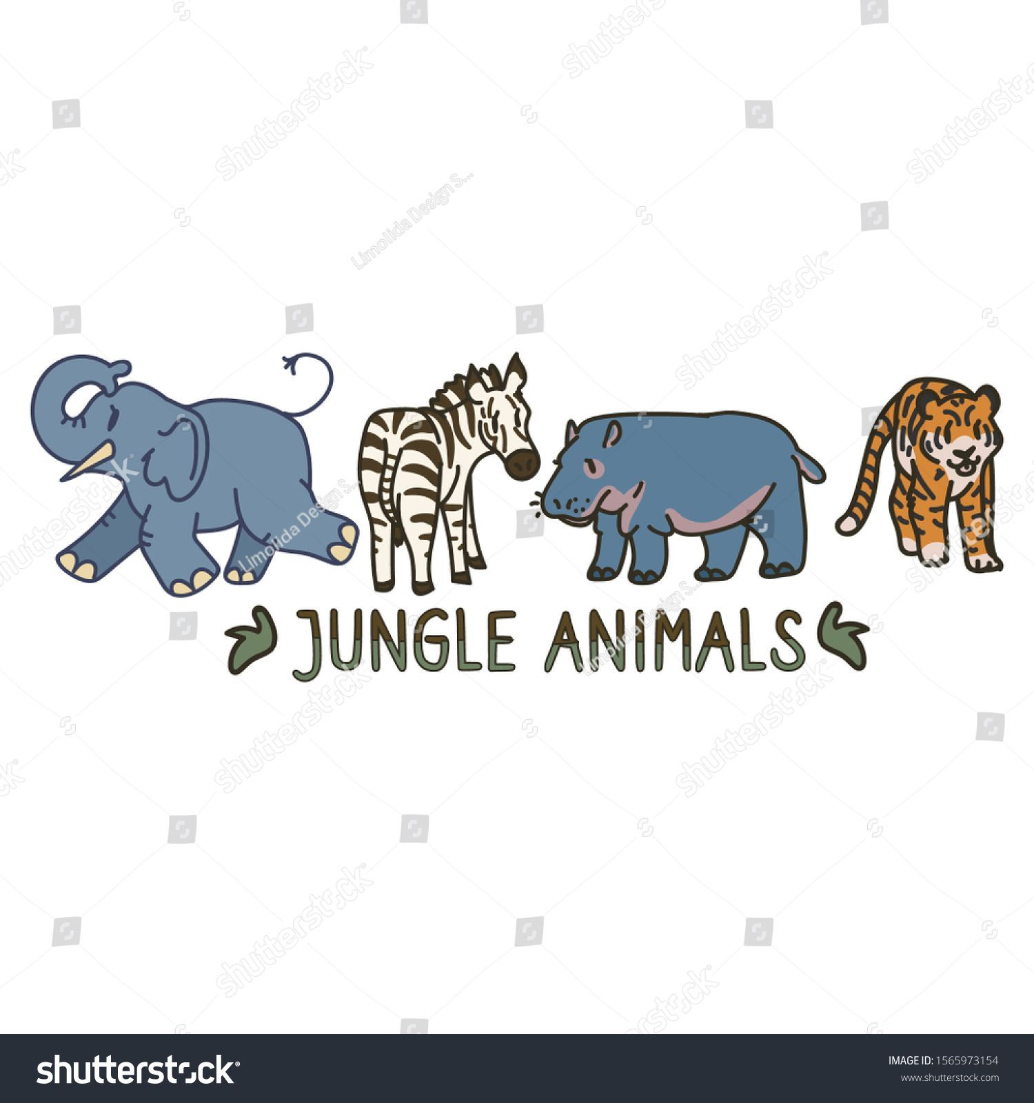 Adorable Cartoon Jungle Animal Clip Art Stock Vector (Royalty Free) 1565973154 -    Adorable Cartoo