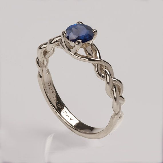 Braided Engagement Ring No2 14K White Gold and Sapphire