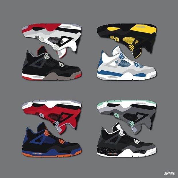 Air jordan 4 illustration by JGRVHVM | SHOEEEES | Sneakers ...