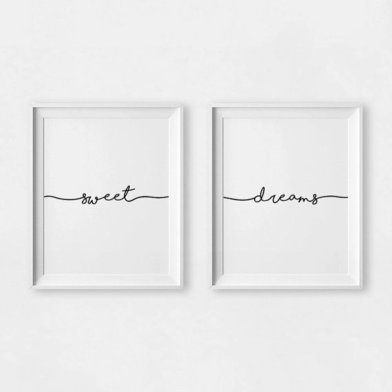 25 Cute And Comfy Scandinavian Nursery Ideas: Sweet Dreams Print, Sweet Dreams Wall Art, Set Of 2 Prints