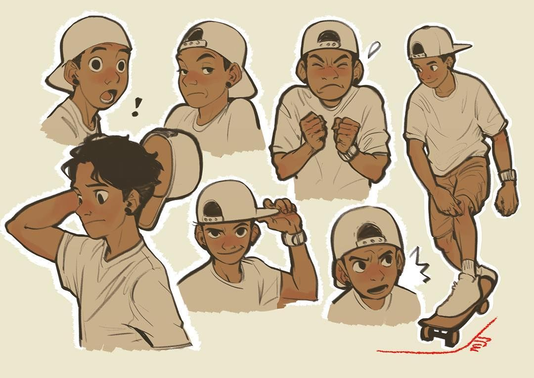 Character Design Challenge Ideas : Skateboarding characterdesign drawing facial doodle