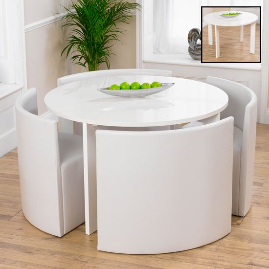 Lexus Gloss White Round Dining Table And White Sophia Chairs With