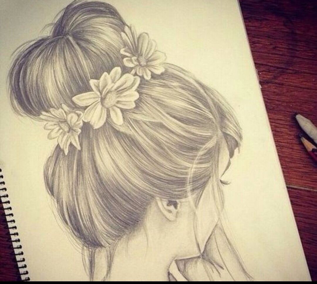 Hair In A Bun Drawing Side View
