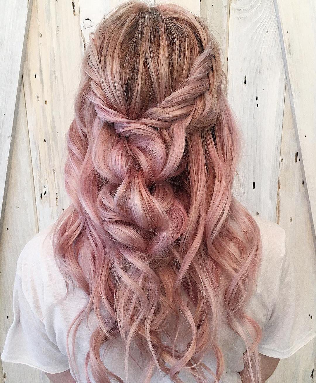 39 Trendy + Messy & Chic Braided Hairstyles | Pastel braid half up half down hairstyle #halfuphalfdown #braids #hairstyles