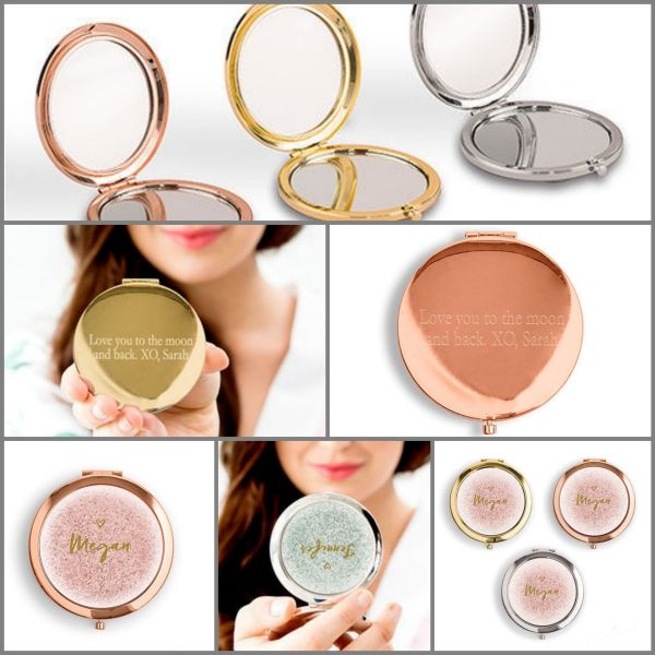 ecdacd904e Personalized Glitter Compact Mirrors, Bridesmaid Gift Ideas, Gold, Rose Gold,  Silver