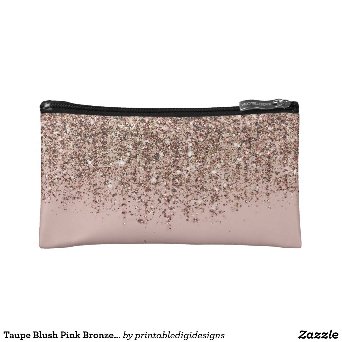 Taupe Blush Pink Bronze Rose Gold Glitter Glam Cosmetic