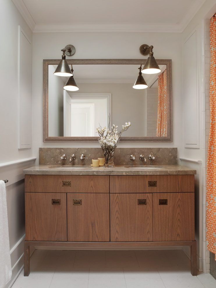 Cottage style bathroom lighting bathroom traditional with orange ...