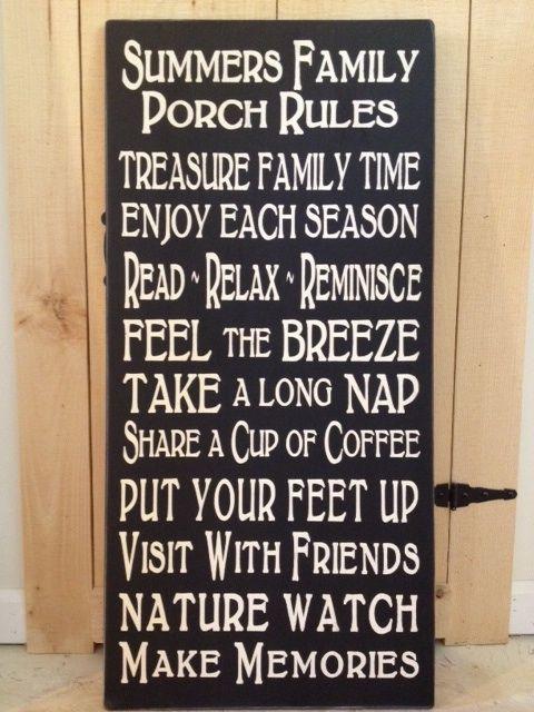 Signsofelegance Craft Cafe Custom Porch Rules Wood Sign Susan