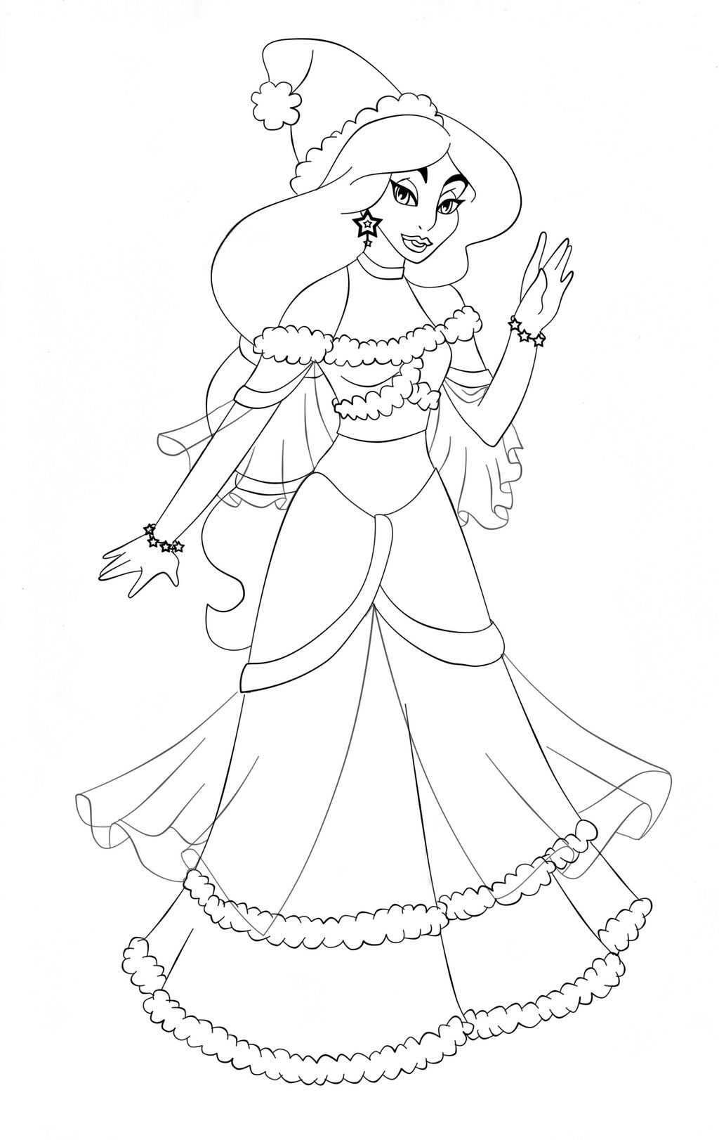 Jasmine Disney Christmas By Paola Tosca On Deviantart Disney Princess Coloring Pages Disney Princess Colors Disney Christmas