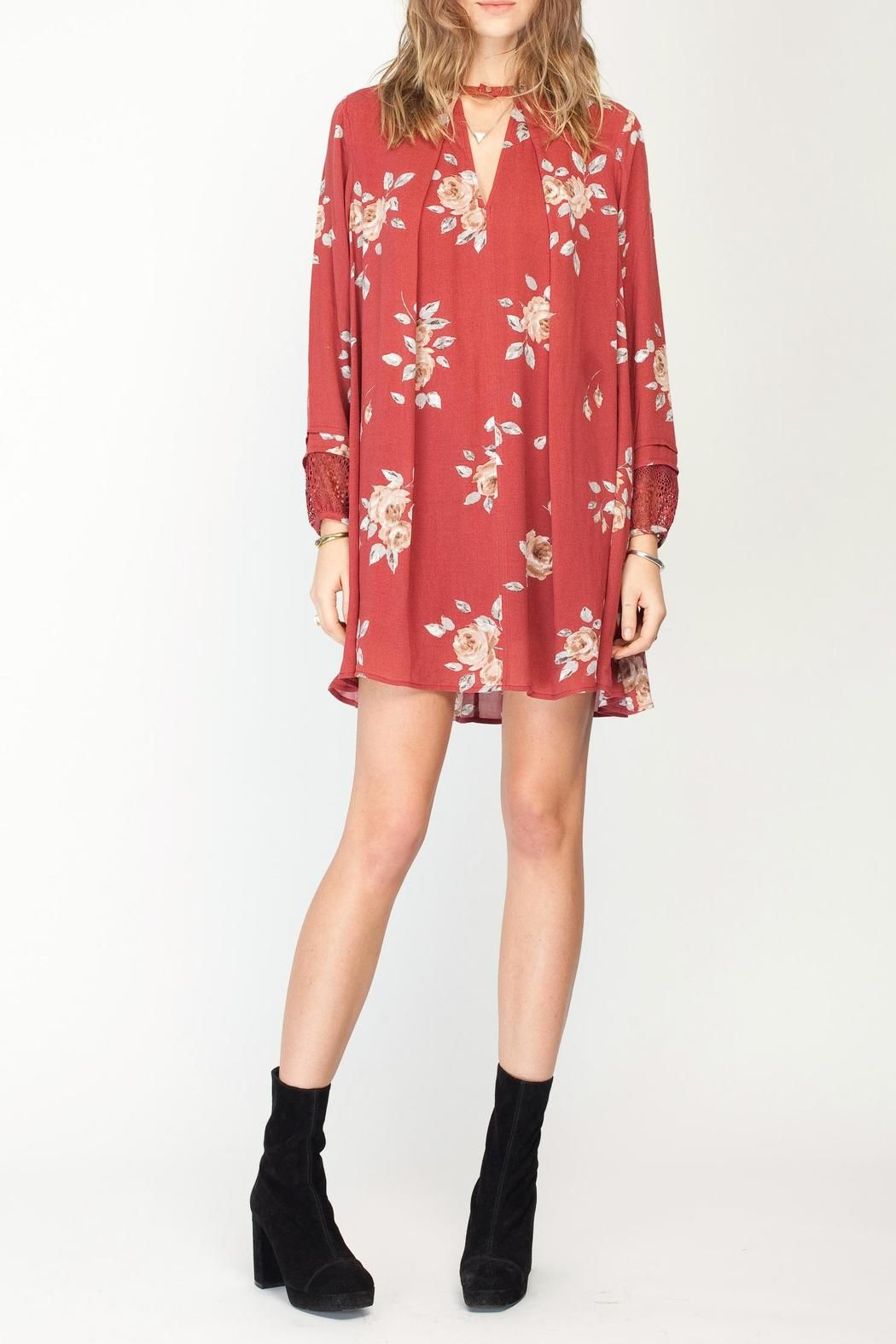 Gentle fawn floral utopia dress choker neckline and floral
