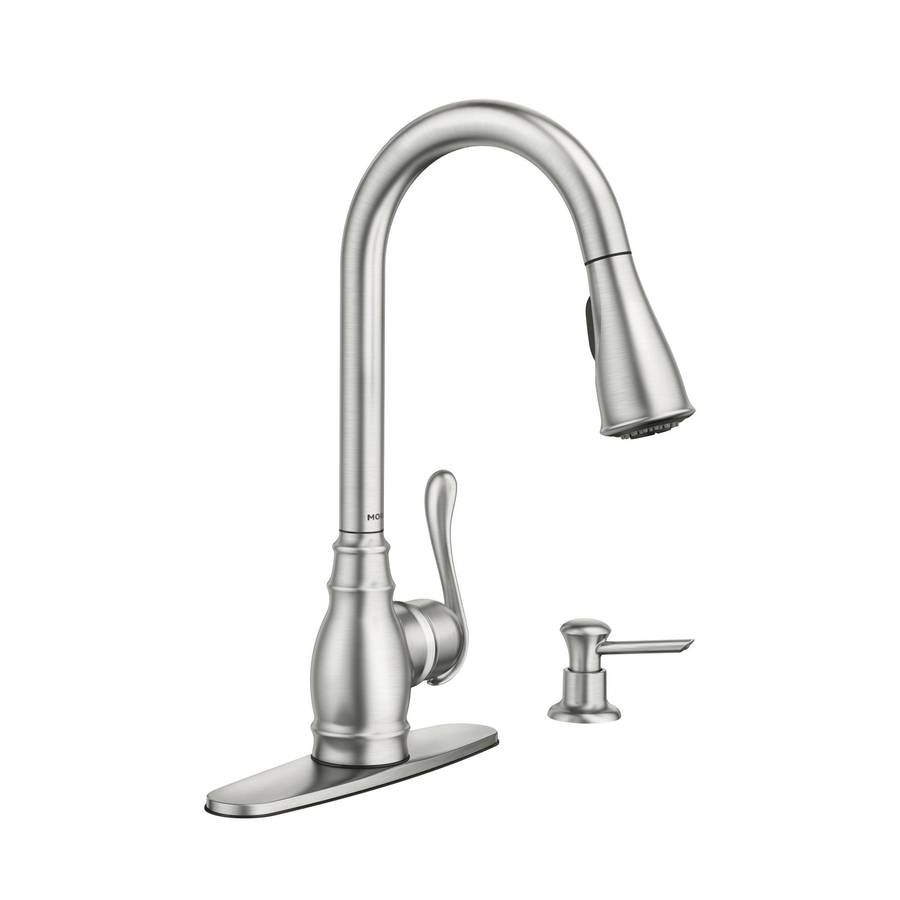 moen anabelle kitchen faucet shop moen anabelle spot resist stainless 1 handle pull 20804