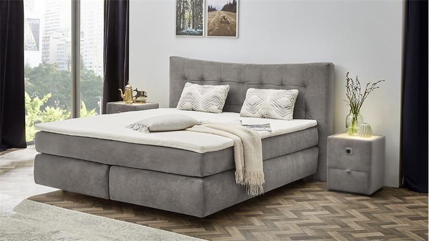 Boxspringbett Gretas Bett Schlafzimmerbett In Samt Grau Mit Topper Bett Graues Bett Und Schlafzimmer
