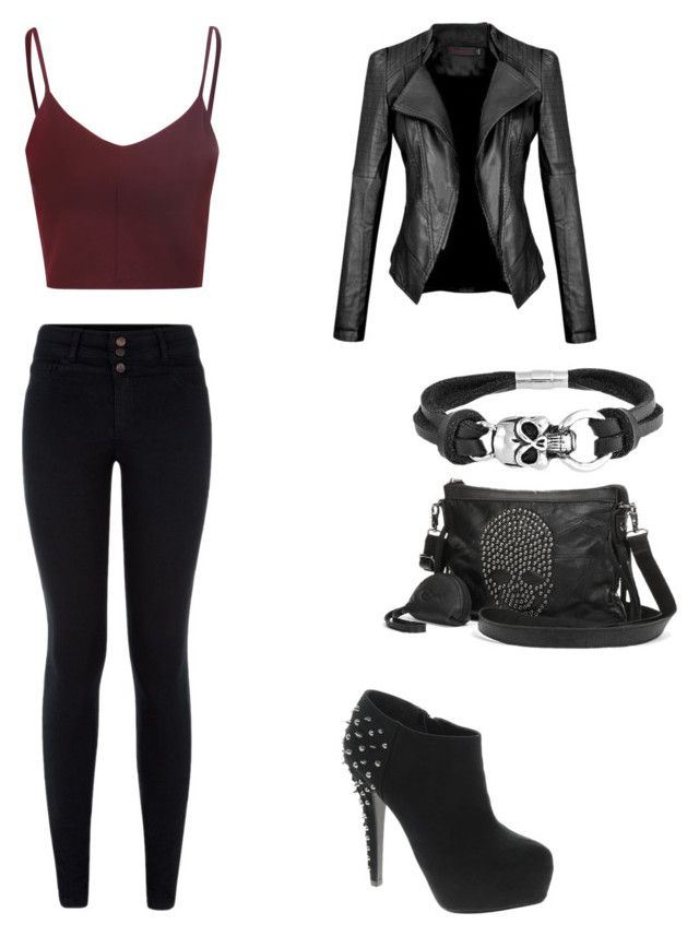"""Untitled #42"" by jc429210 ❤ liked on Polyvore featuring moda, Glamorous, London Rebel, AmeriLeather ve Bling Jewelry"