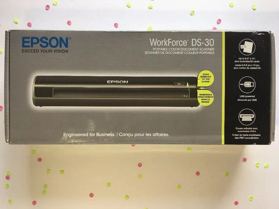 Epson Workforce Ds 30 Portable Document Image Scanner New Free