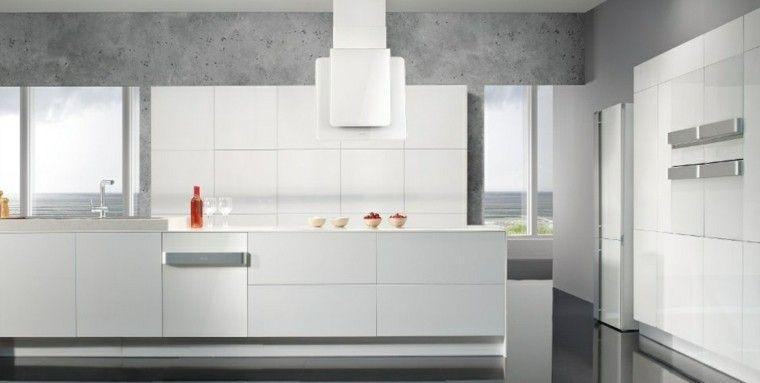 diseño cocinas blancas hormigon paredes rojo | Interiores para ...