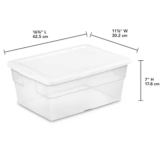 Sterilite 16qt Clear Storage Box With Lid White Sterilite Wire Closet Shelving Storage Boxes