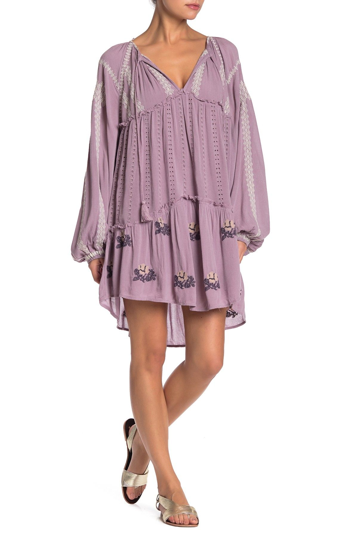 Free People | Wild Horses Embroidered Long Sleeve Mini Dress #nordstromrack