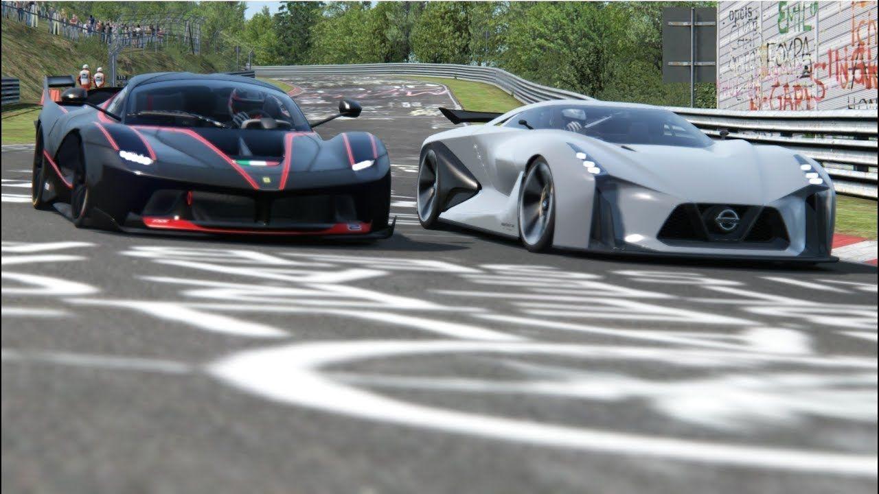 Nissan Concept 2020 Vision Gt Vs Ferrari Fxx K At Nordschleife Ferrari Fxx Ferrari Chasing Cars