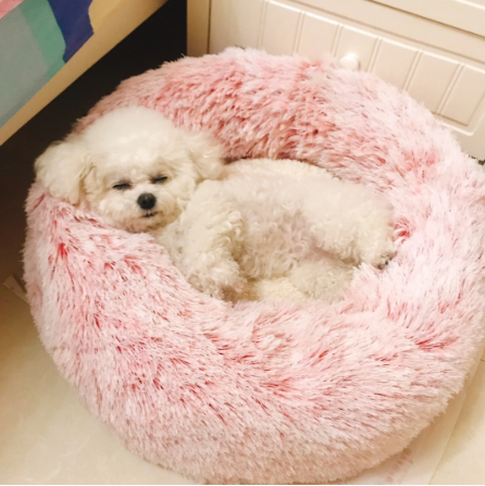 Comfy Calming Dog Cat Bed Round Super Soft Plush Pet Bed Marshmallow Cat Bed Us Puppy Cushion Dog Bed Washable Pet Bed