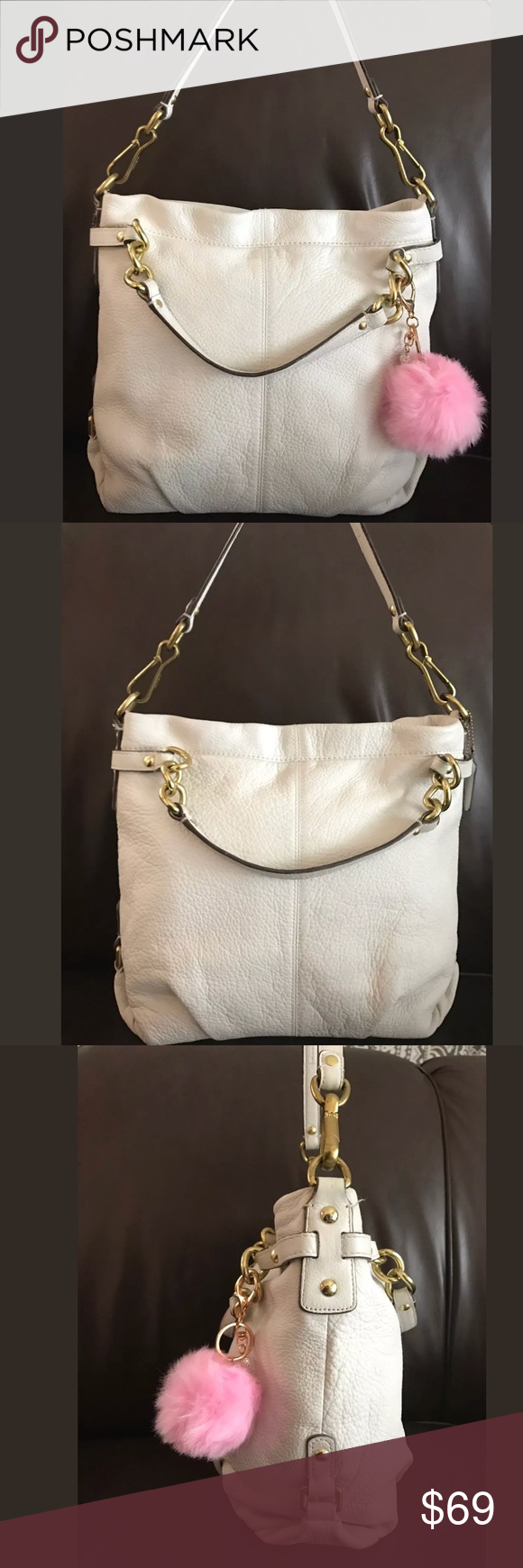 """COACH Brooke Pebbled Leather Shoulder Bag F17165 offering a beautiful COACH Brooke White Pebbled Leather Shoulder Bag, Handbag number F17165 in great condition.  This purse is pre-loved with normal wear, looks great. This Pebbled heavy leather with a removable Shoulder strap with a 9"""" drop along with 2 handles on gold chains with a 5"""" drop.  The purse measures 12"""" by 11"""" by 5"""". The interior has a couple of small spots barely noticeable in a beautiful lavender Satin with compartments to keep…"""
