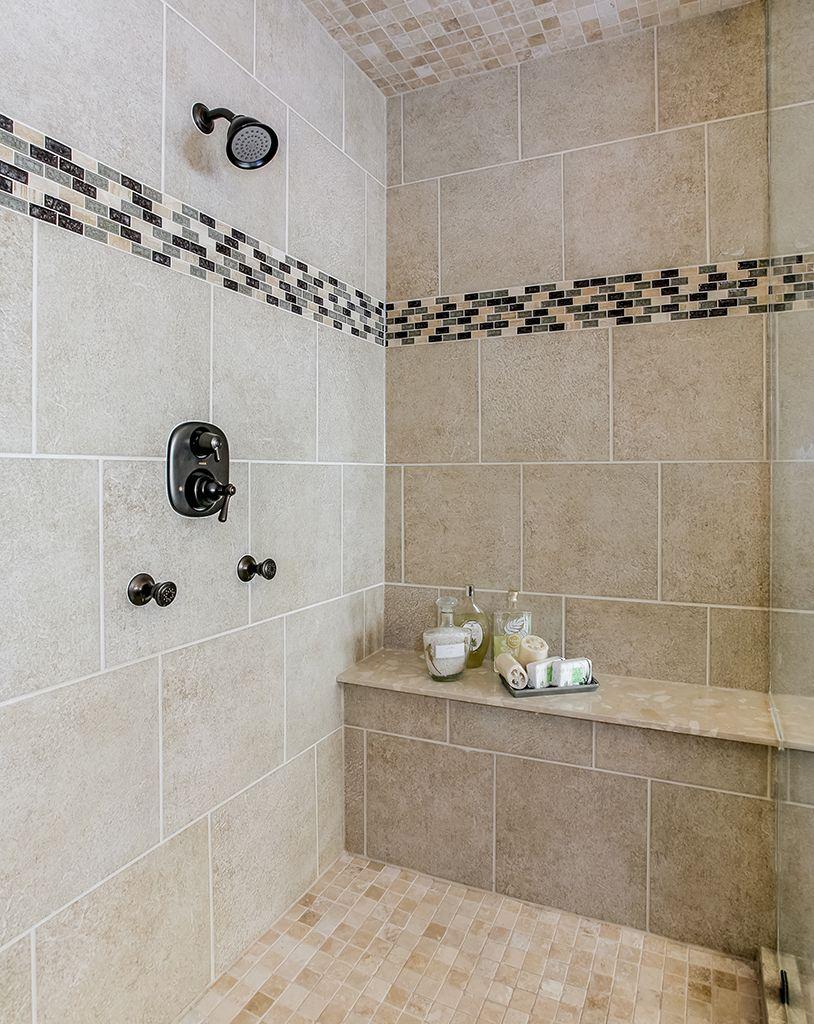 Gehan Homes Master Bathroom - Black and cream backsplash ...