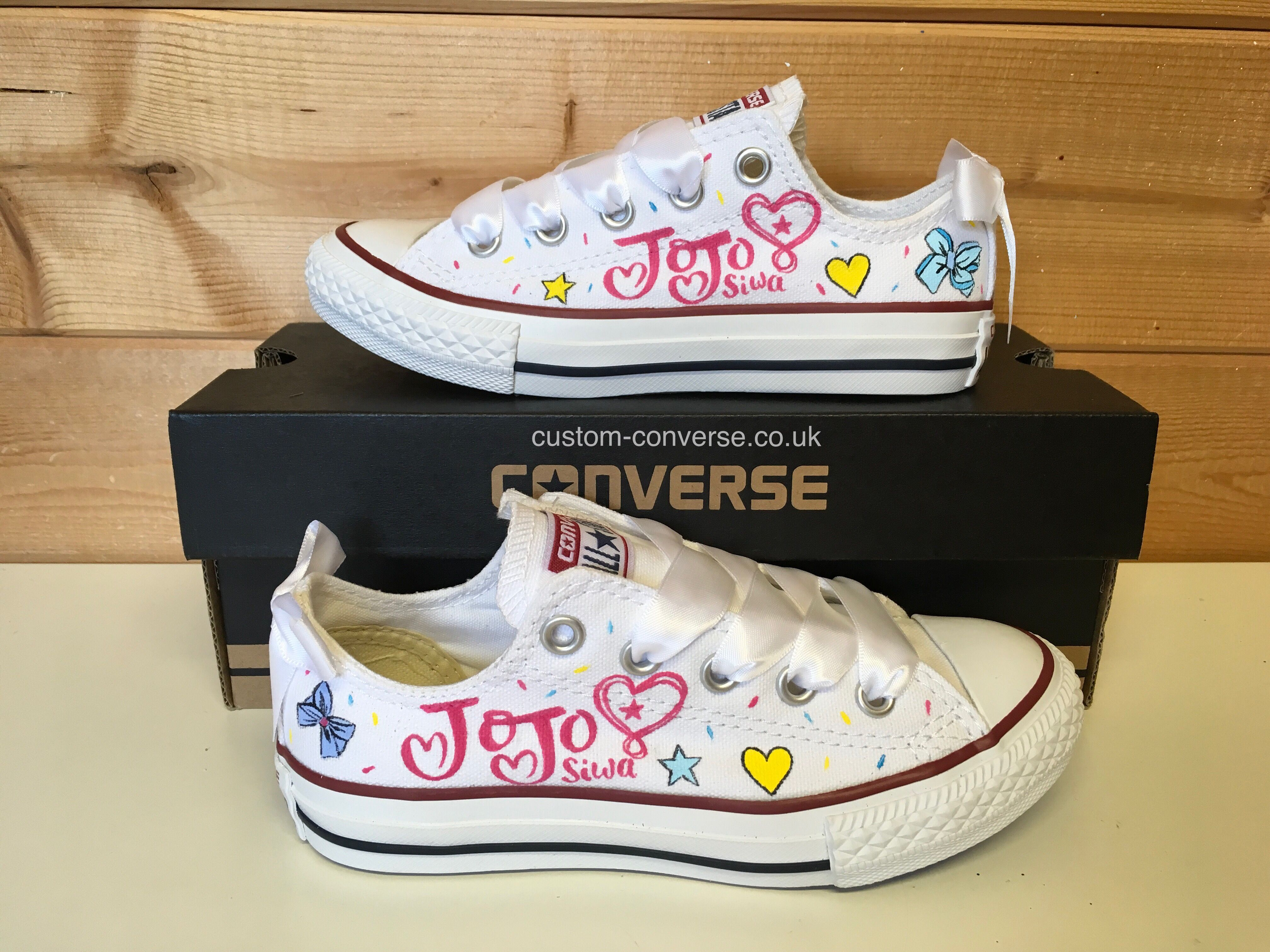 bcd353b1c32c JoJo Siwa Low Top Converse shoes with white ribbon laces and Bows  converse   jojosiwa  customconverse  handpainted  chucks  jojo  bows