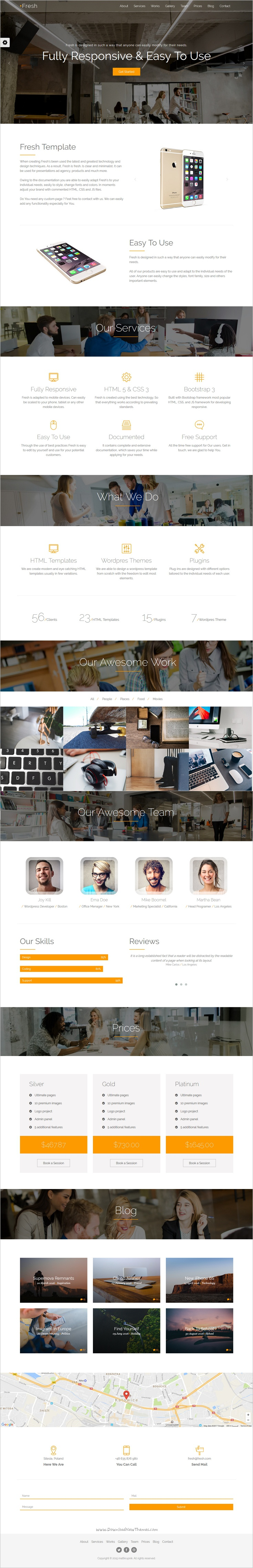 Fresh - Responsive One-Page Bootstrap Parallax Template ...