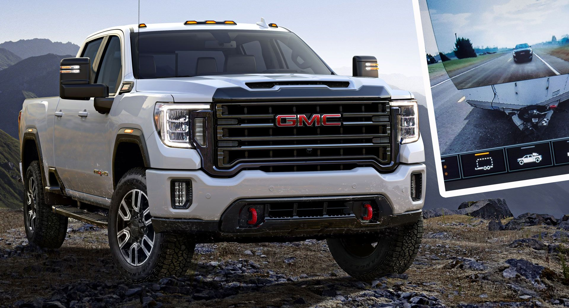 2020 Gmc Sierra Hd Has Brains Brawn And 15 Cameras That Let You See Through Its Trailer In 2020 Gmc Gmc Sierra Ls Engine