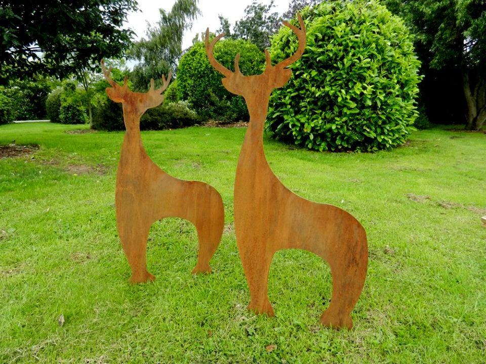 Rusty Metal Deer Sculpture Herd   Contemporary Garden Art