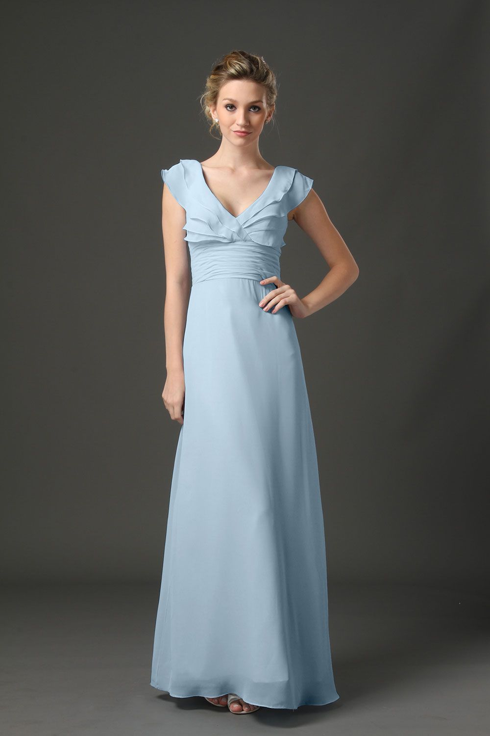 #85033 - Floor-Length V-Neck Ruffled Chiffon Dress