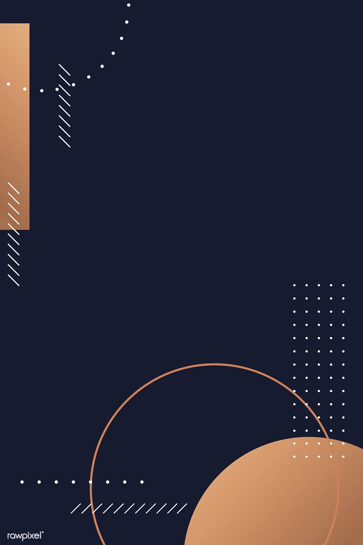 Download premium vector of Modern copper geometric pattern on a blue