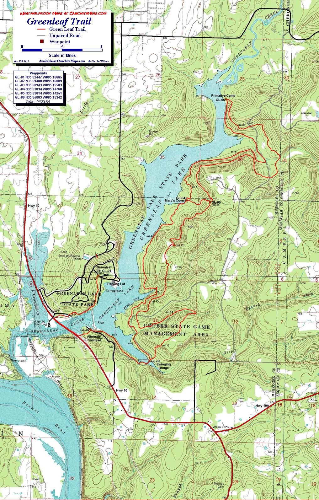 Greenleaf State Park Oklahoma Free Detailed Topo Map Hiking - Map of the state of oklahoma