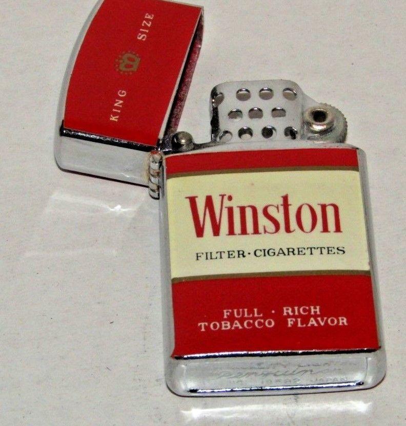 Rare Vintage Slim Flip Top Penguin Lighter Winston Cigarettes Never Lit Lighter Cool Lighters Winston Cigarettes