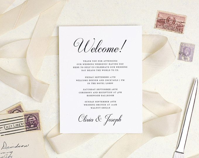 welcome guests to your wedding weekend with these hotel printable
